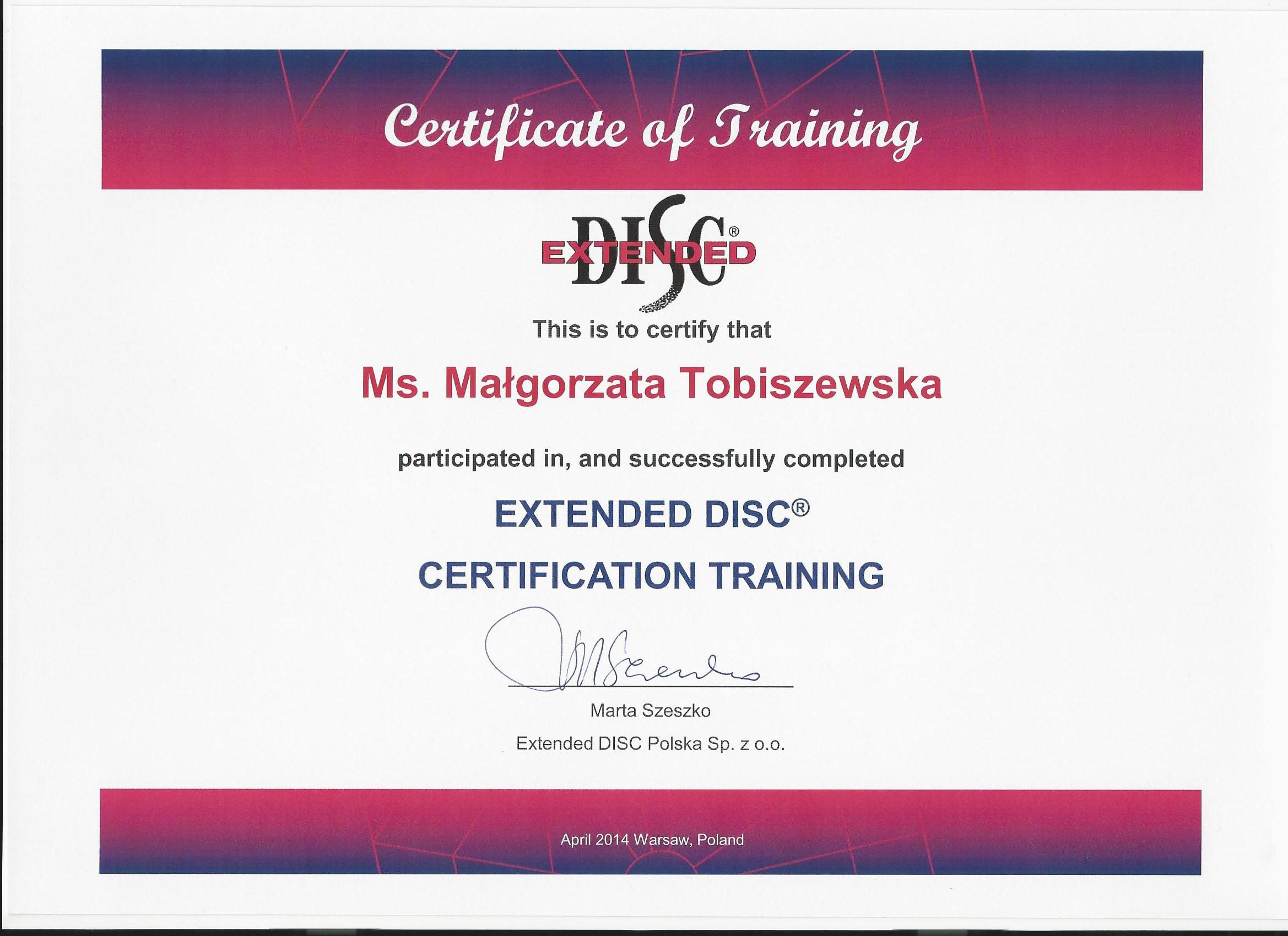 Extended DISC Małgorzata Tobiszewska
